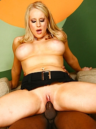 Blonde Cassady Blue in interracial fuck, eats cum pictures