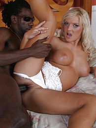 Blonde slut Barb Summers, interracial assfucking, and cumeating pics