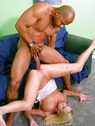 Blonde Britnney M in hot interracial threesome pictures at freekiloporn.com