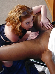 Redhead Cherry blows 2 black dicks, eats cum pics