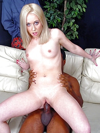 Blonde Goldie cuckold interracial cumeating pictures at sgirls.net