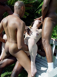 Blonde with glasses interracial gangbang anal DP pictures at kilogirls.com