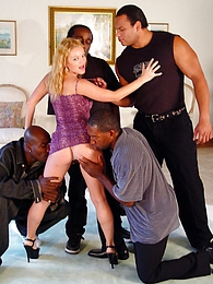 Blonde czech girl Jessica in interracial anal gangang DP pictures at freekilomovies.com