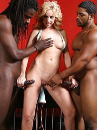 Blonde Kelly Wells interracial cuckold fuck and cum in mouth pictures at lingerie-mania.com