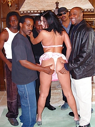 Michelle Raven interracial anal gangbang DP pictures at freelingerie.us