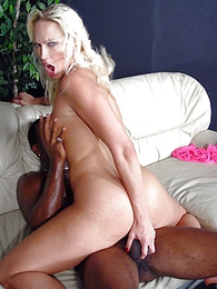 Hot blonde Nikki H interracial fuck and cumeating pictures at lingerie-mania.com