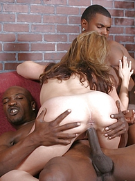 Blonde MILF Raquel interracial threesome eats both loads pics