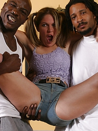 Teen Renee Jordan in interracial threesome fucks and eats cum pictures at freekiloclips.com