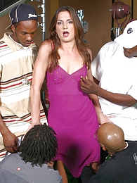 Brunette Samantha Roxx interracial gangbang eats 4 loads of cum pictures at lingerie-mania.com