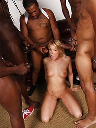 Hot blonde Brittany Angel gangbanged by 5 blacks pictures at freekilomovies.com