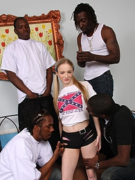 Tiny blonde redneck Kandi Hart in black gangbang pictures at kilomatures.com