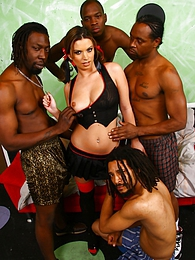 Brunette Bailey Brooks interracial gangbang with creampie pictures at freelingerie.us