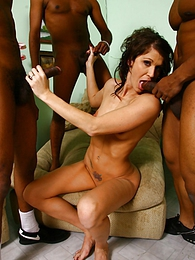 Brunette MILF Jamie Kenney interracial cuckold gangbang pictures at freekilomovies.com