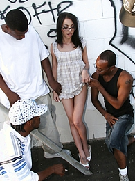 Tiny brunette Veronica Jett in hard interracial gangbang pictures
