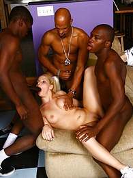 Petite blond Kinzy Jo interracial gangbang and cumeating pictures at sgirls.net