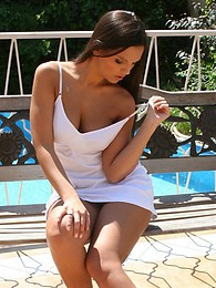 Adorable brunette spreads sweet pussy by pool pictures at find-best-mature.com