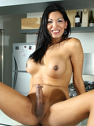 Cute TS Natalia posing her fat hard cock in kitchen pictures at find-best-panties.com