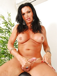 Hot tgirl Monica posing her perfect body and hard cock pictures at lingerie-mania.com