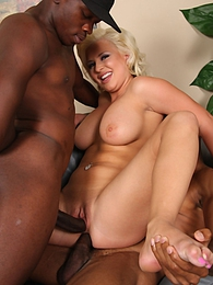Big tits blond Andi Anderson interracial anal threesome pictures at lingerie-mania.com