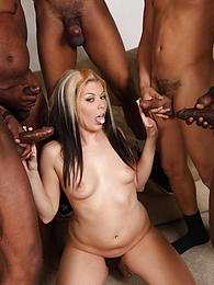 Blonde Chantell Merino in interracial cumeating gangbang pics