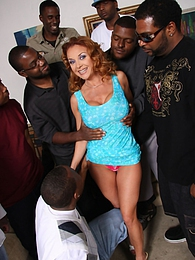 MILF Janet Mason does interracial gangbang 8-on-1 pictures