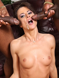 Fit French beauty Cecilia Vega does interracial anal threesome pictures at freekilosex.com