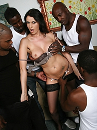 Euroslut Eva Karera in interracial 4-0n-1 gangbang cumeating pictures at sgirls.net