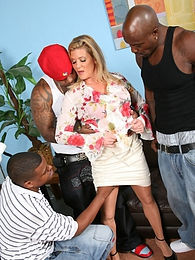 Veteran and superwhore, Ginger Lynn, gets several samplings of young, black cocks pictures at freekiloporn.com