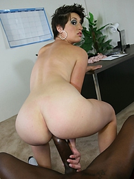 Super cute office slut Nicole Nowak rides a black cock deep into her pussy pictures at freekiloporn.com