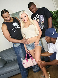 Gorgeous blonde Jenna Lovely meets up with three black guys and gets completely fucked pictures at freekilomovies.com