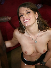 Cute white girl Monalee can't resist the game a couple of black guys spit at her pics