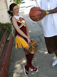 A horny cheerleader Mae Meyers gets fucked by the star of the team pics