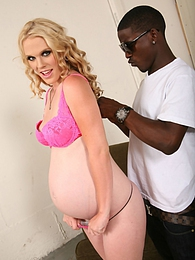 A blonde pregnant slut cheats with a huge black cock pictures