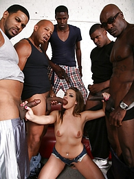 Southern belle gets all her holes filled thanks to an interracial gangbang pictures at sgirls.net