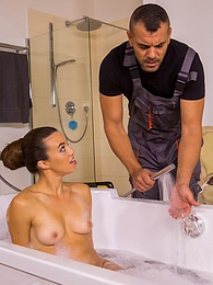 Stunning babe Tiffany Doll seduces and fucks the plumber pictures at adipics.com