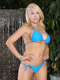 Big breasted blonde coed Kagney gets butt naked outdoors pictures at freekiloclips.com