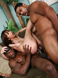 Japanese av idol Mirika gets a double dose of black cock and squirts all over pictures at adipics.com
