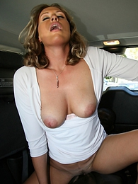 Cougar MILF Joey Lynn fucks young black in van eats cum pictures at freekilosex.com
