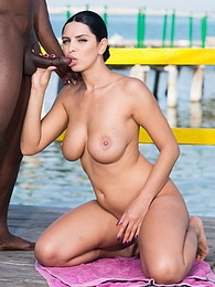 Kira Queen, exhibits curves and tits in interracial session pictures at freekilopics.com