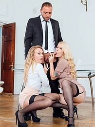 Secretaries Misha Cross & Carmel Andersson in anal threeway pictures at kilomatures.com