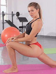 Beautiful blonde Mary Kalisy, interracial fuck in the gym pictures at freekilopics.com