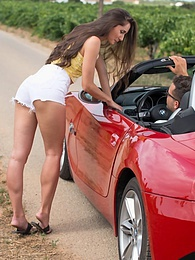 Horny hitchhiker Aruna Aghora is fucked on the car bonnet pictures at adspics.com