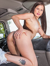 Cassie Fire, horny hitchiker in anal threesome with truckers pictures at freekilosex.com