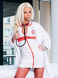Barbie Sins, a blonde nurse who loves lingerie and facials pics
