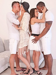 Belle Claire and Anita Bellini, interracial orgy with DP pictures at lingerie-mania.com