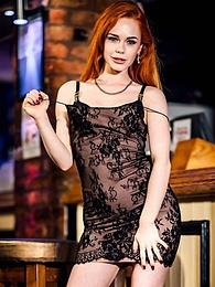 Gorgeous Swinger Red Head Ella Hughes Shows Off at the Bar pictures at lingerie-mania.com