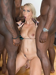 MILF Julia Pink Stars in Her First Interracial Gangbang pictures at freekilosex.com
