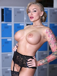 Tattooed Blonde Kalya Green, Busty MILF in a DP threesome pictures at freekilosex.com