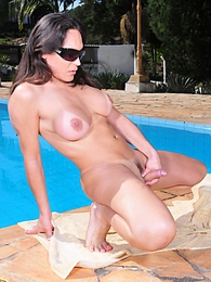 Superb Leticia Rodrigues posing outdoors by the pool pictures at find-best-tits.com
