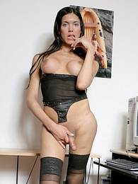 Super hot shemale Daniela playing with her cock and ass pictures at lingerie-mania.com
